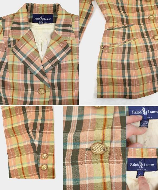 USA製 RALPH LAUREN リネンチェック3Bジャケット ピンク系 4 ラルフローレン オールド 80'S 90'SAq4R53jL