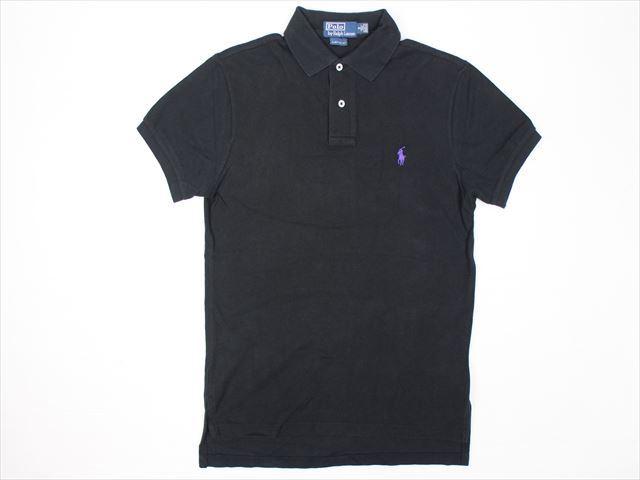Polo by Ralph Lauren ラルフローレン 鹿の子コットンポロシャツ(S)ブラック CUSTOM FIT