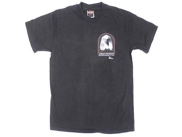 HANES■90'S ハーレーダビッドソン イーグルプリントTシャツ ブラック/M HARLEY-DAVIDSON