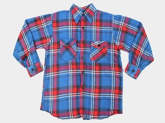 FROSTPROOF■コットンヘビーネルシャツ ブルー系チェック/16 70S