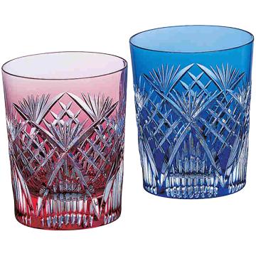 名入れ 切子グラス KAGAMI CRYSTAL カガミクリスタル江戸切子 ペアロックグラス<笹っ葉に斜格子 紋> 245cc名入れ 切子 グラス 売れ筋セール