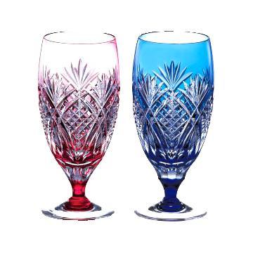 KAGAMI CRYSTAL カガミクリスタル 江戸切子 ペアビアグラス(笹っ葉に魚子紋) 160cc 名入れ 切子 グラス