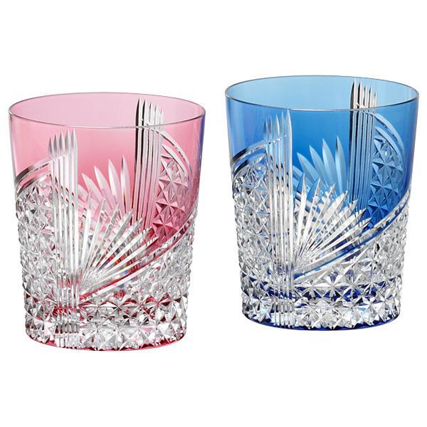 名入れ 切子グラス KAGAMI CRYSTAL カガミクリスタル江戸切子 折鶴ペアロックグラス 280cc名入れ 切子 グラス 売れ筋セール