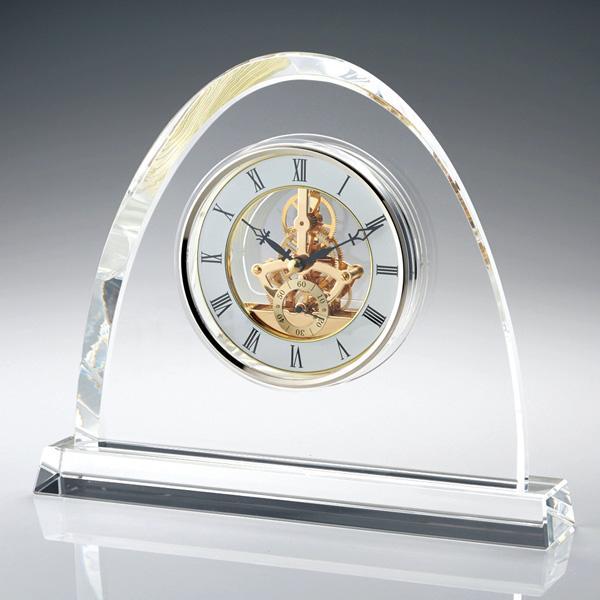 名入れ メッセージ彫刻 名入れ時計【退職記念 退職祝い】GLASS WORKS NARUMIオーバル スケルトンクロック 24cm 卓上時計 置時計 ナルミ (鳴海製陶)【送料無料】
