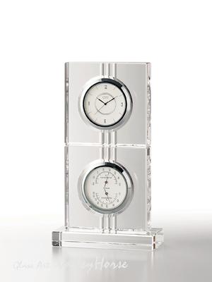 名入れ メッセージ彫刻 名入れ時計【退職記念 退職祝い】GLASS WORKS NARUMIエコロ サーモクロック(D)卓上時計 置時計 ナルミ (鳴海製陶)