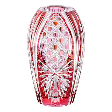 カガミクリスタル (KAGAMI CRYSTAL) 江戸切子 花瓶 江戸切子 花瓶(笹っ葉に八角籠目) 20cm【 花瓶 花器 フラワーベース 】【送料無料】