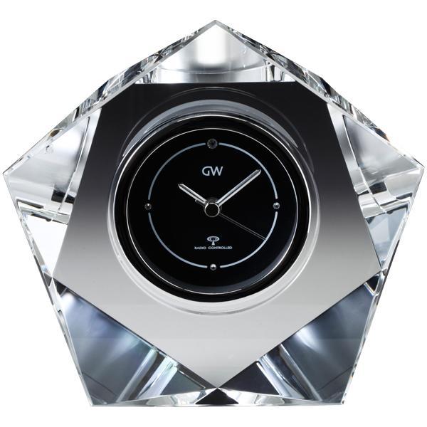 名入れ ギフト 卓上時計【退職記念 退職祝い】GLASS WORKS NARUMI (鳴海製陶)グラスワークス マクロス 電波時計置時計 ナルミ 時計名入れ【送料無料】売れ筋セール