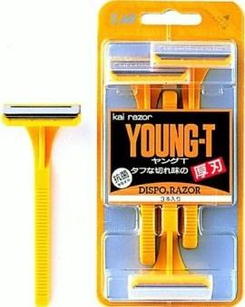 ステンレス刃 半額 使い捨て用ひげそり 貝印 ヒゲ剃り用カミソリ トレンド ヤングT 3本入り YNGT-3B