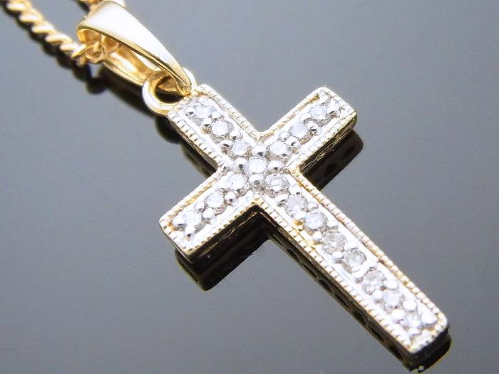AQUAMASTER 14Kイエローゴールド ダイヤモンド0.10ct クロスペンダント 14金 アクアマスター