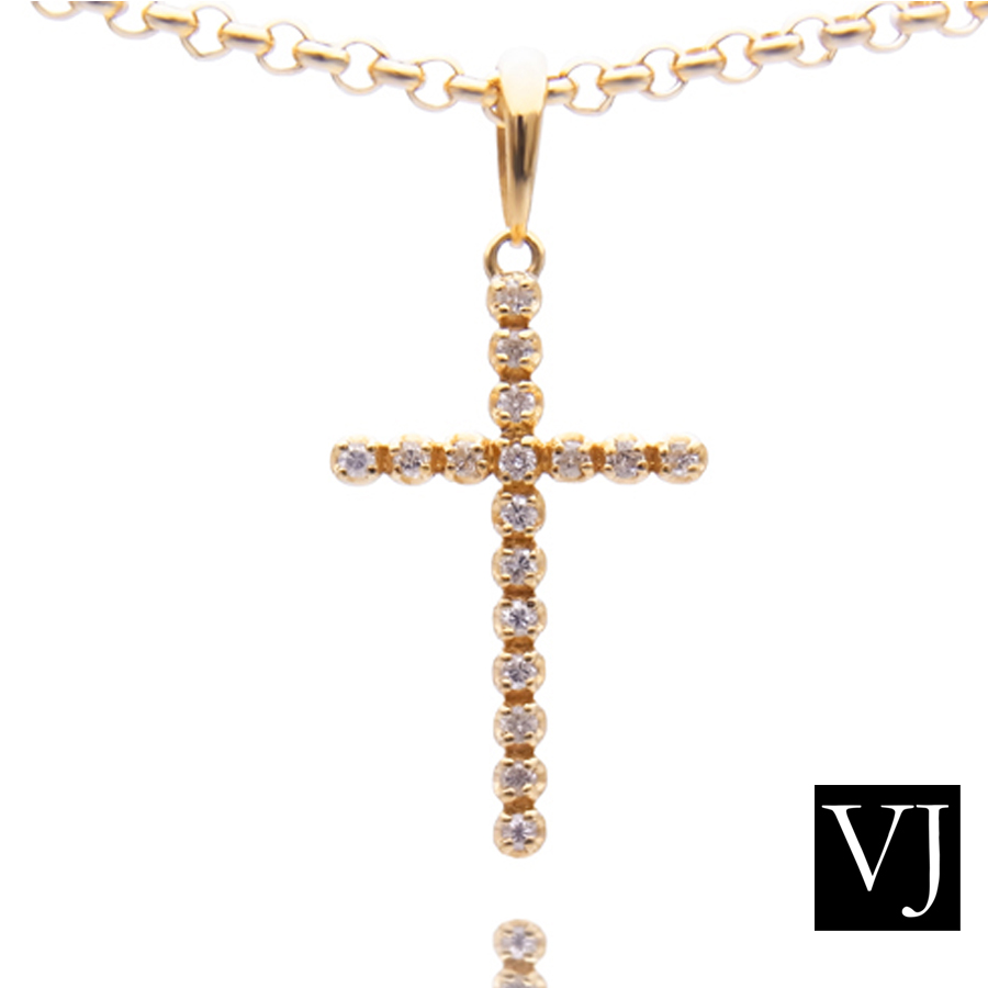 Valuable rakuten global market vj 18 k yellow gold diamond cross vj 18 k yellow gold diamond cross pendant 18 gold tennis necklace designer brand women original valuable pair jewelry aloadofball Image collections