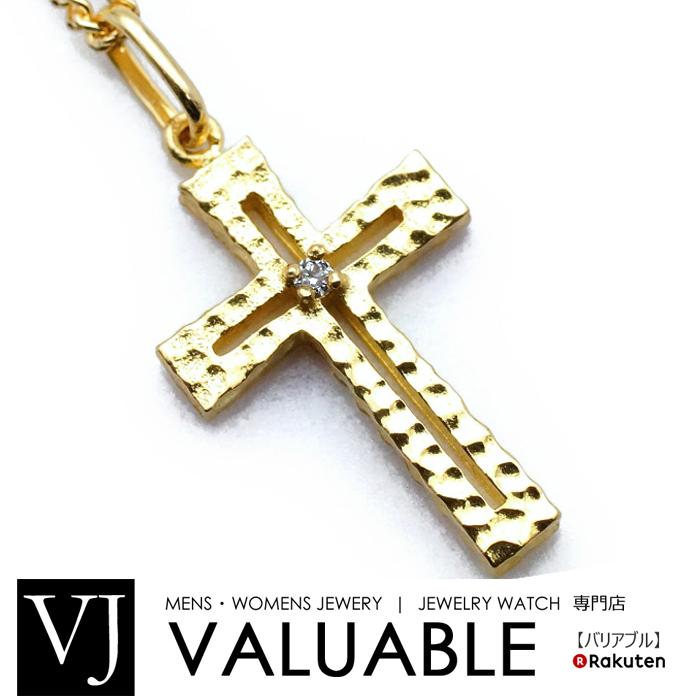 K18 イエローゴールド メンズ ダイヤモンド 0.01ct クロス テクスチャー加工 ペンダント[k18 ネックレス 18k ネックレス 18金 ネックレス シンプル キラキラ カット]【キャンペーン対象】