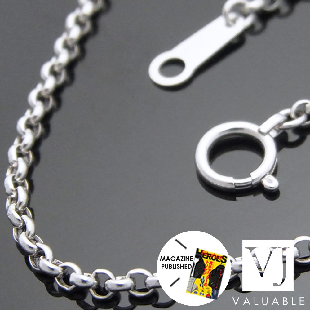 【送料無料】K18 ホワイトゴールド メンズ ロールチェーン(ハーフランドチェーン) 2mm幅 50cm [k18 ネックレス 18k ネックレス 18金 ネックレス ロロ ] 【キャンペーン対象商品】