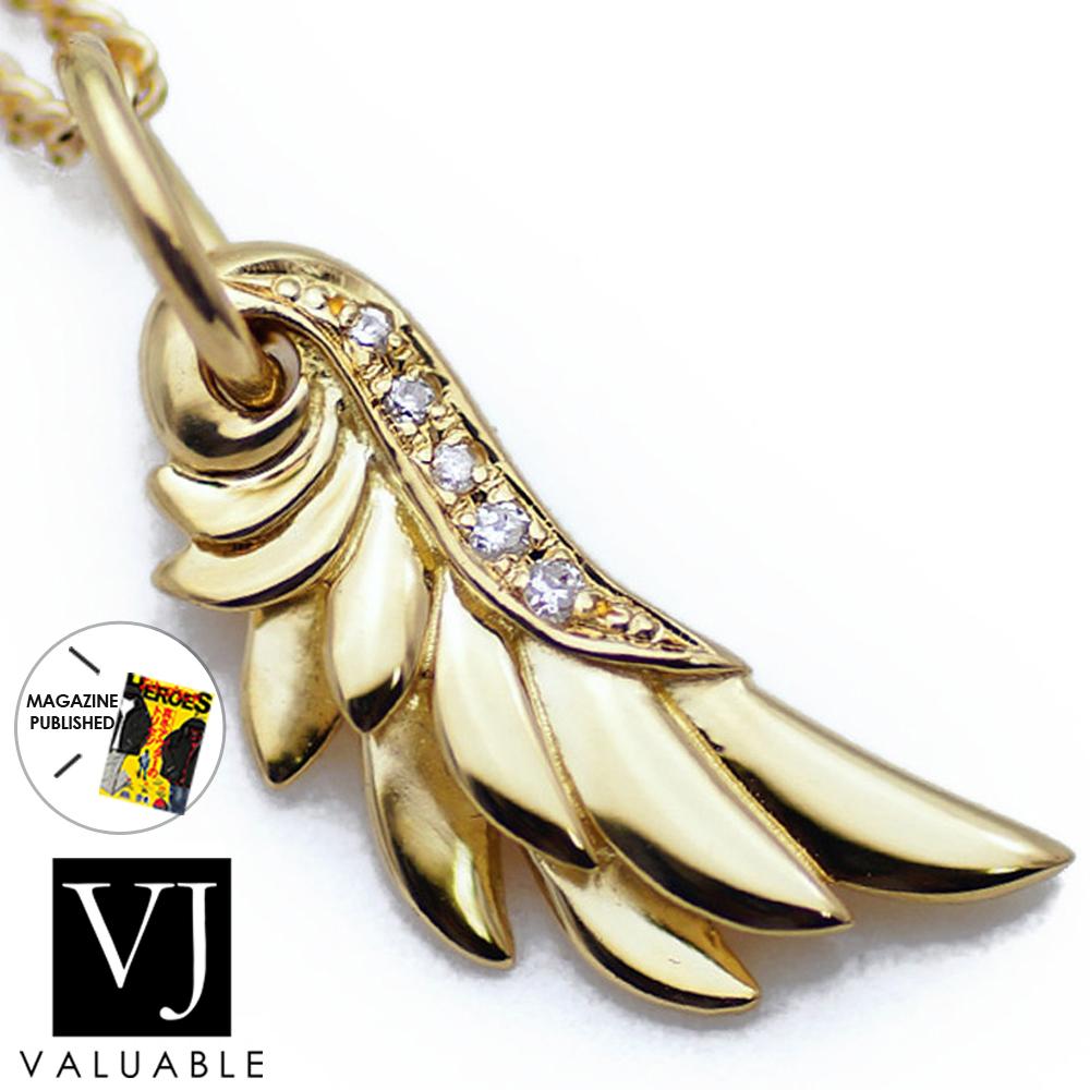 K18 イエローゴールド メンズ ダイヤモンド0.03ct フェザー ペンダント[k18 ネックレス 18k 18金 デザイン 羽 翼 ネイティブ ターコイズ シンプル イーグル ]