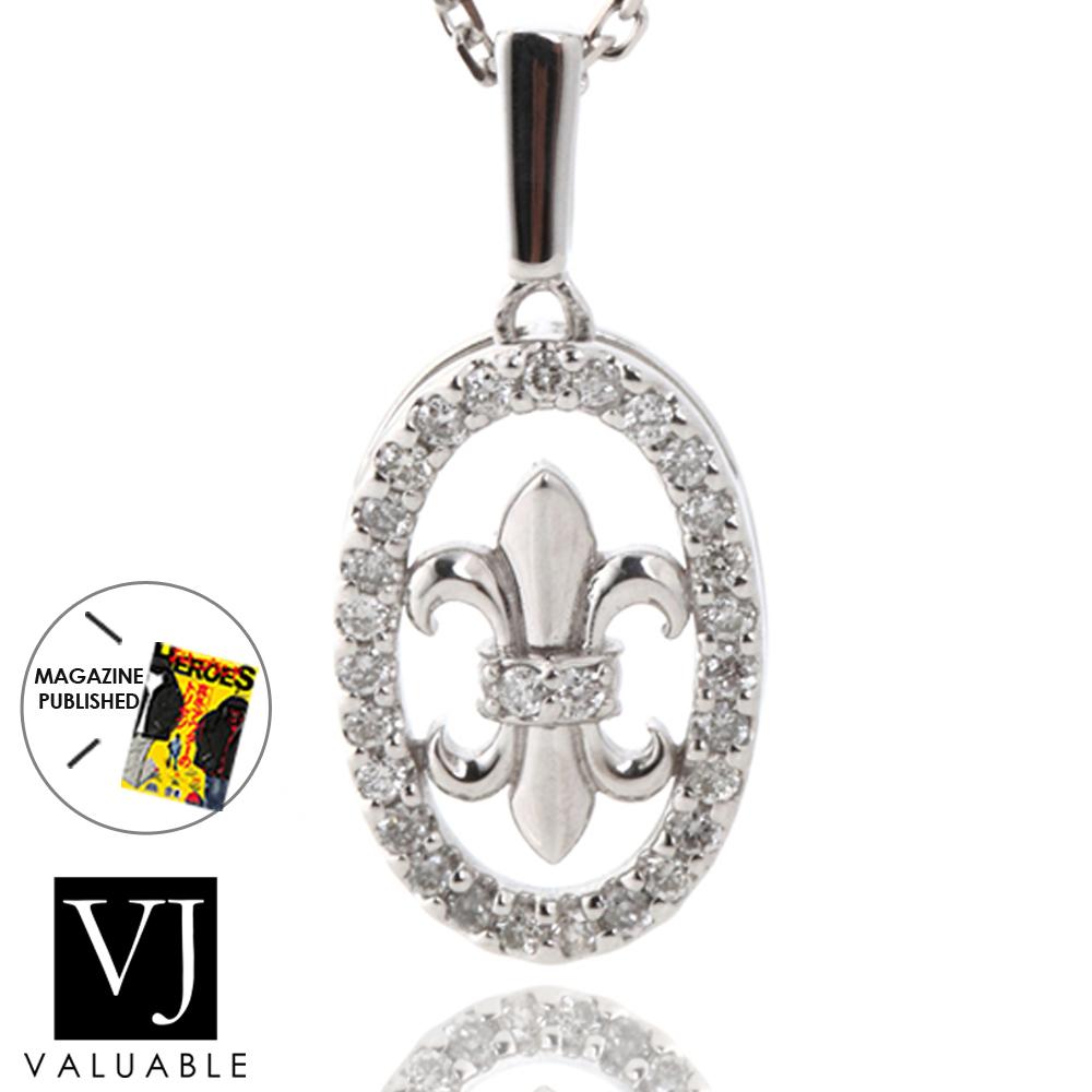 【ファッション誌に掲載】K18 メンズ レディース ダイヤモンド ホワイトゴールド リリー フレア ペンダント[k18 ネックレス 18k メダル オーバル 18金 ネックレス シンプル デザイン 男女兼用 ユリ フローラル]