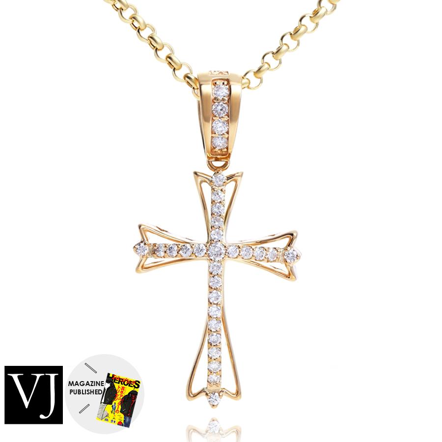 【ファッション誌に掲載】VJ【ブイジェイ】 K18 イエローゴールド メンズ ダイヤモンド クレイジースター ペンダント クロス[k18 ネックレス 18k ネックレス 18金 ネックレス チャーム 星]