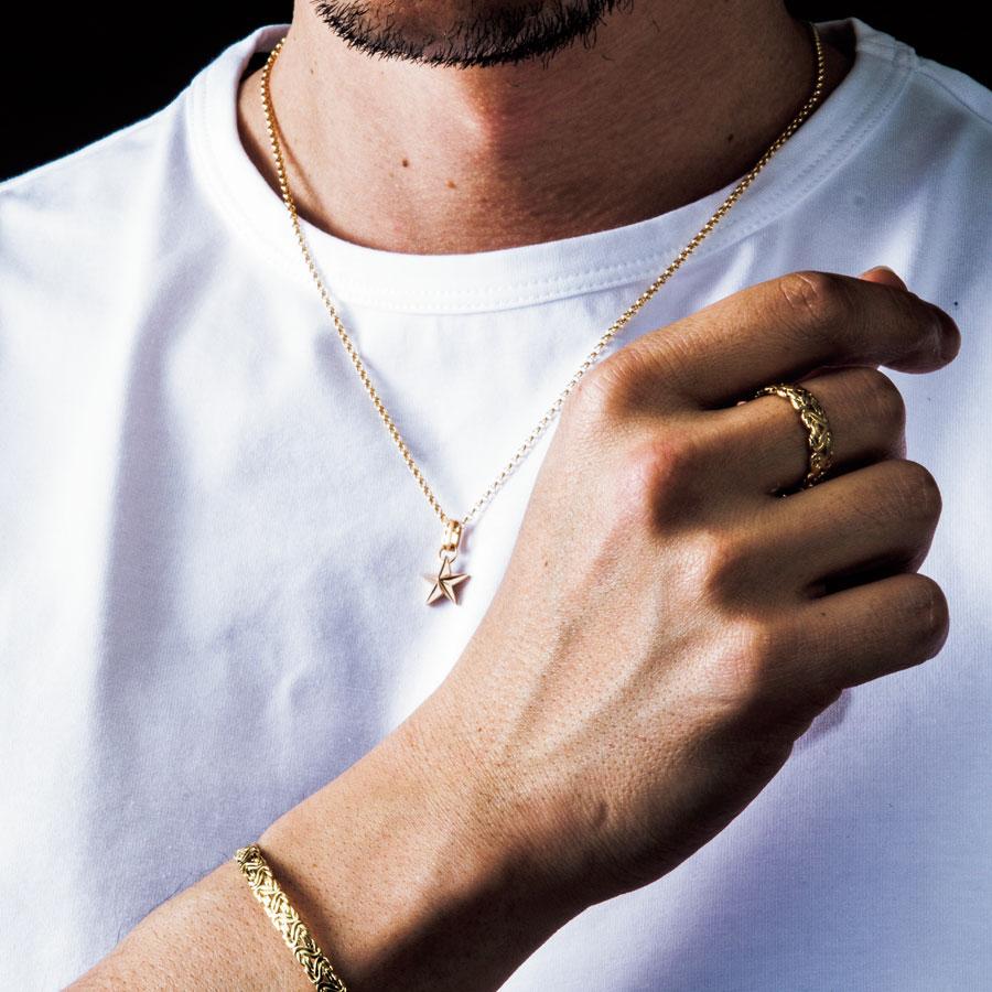 【ファッション誌に掲載】VJ【ブイジェイ】メンズ  K18 イエローゴールド ゴールドスター ペンダント【C set】 ロールチェーンセット[k18 ネックレス 18k ネックレス 18金 ネックレス チャーム 星 シンプル]【あす対応】
