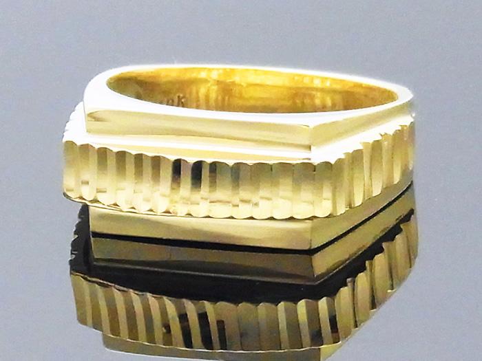 10K メンズ イエローゴールド US ジュエリー デザインカット  リング【10金 指輪 アメリカン インポート リング】