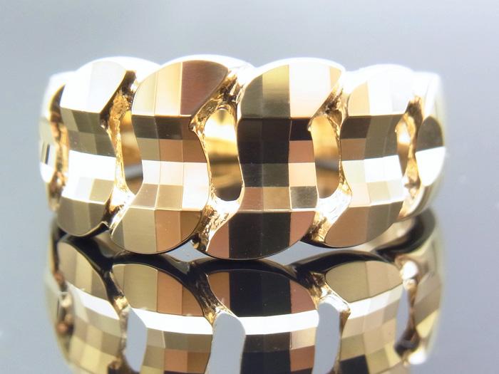 18K イエローゴールド メンズ デザイン ミラーカット 喜平 キヘイ(マイアミキューバン)  ピンキー(小指)リング 指輪 18金 k18 【受注製作/2週間から4週間前後】