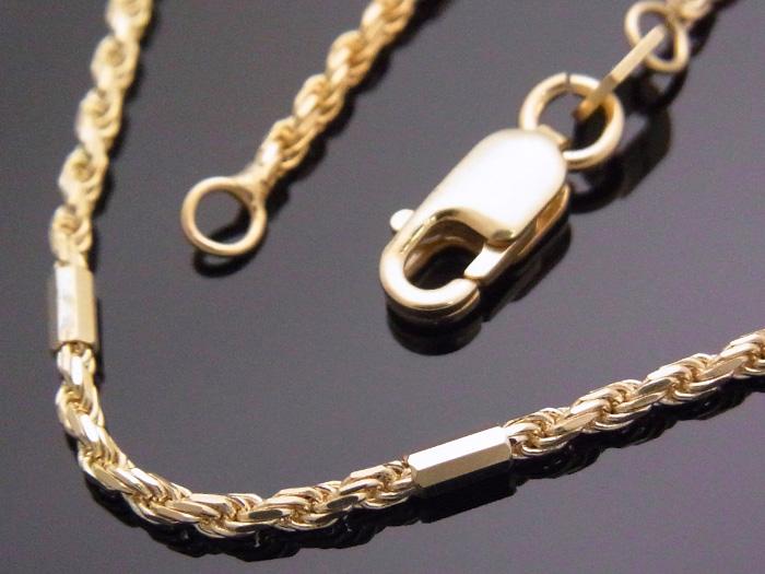 10K イエローゴールド ロープ バー チェーン 1.5mm幅 56cm 14金 10金 10k ネックレス