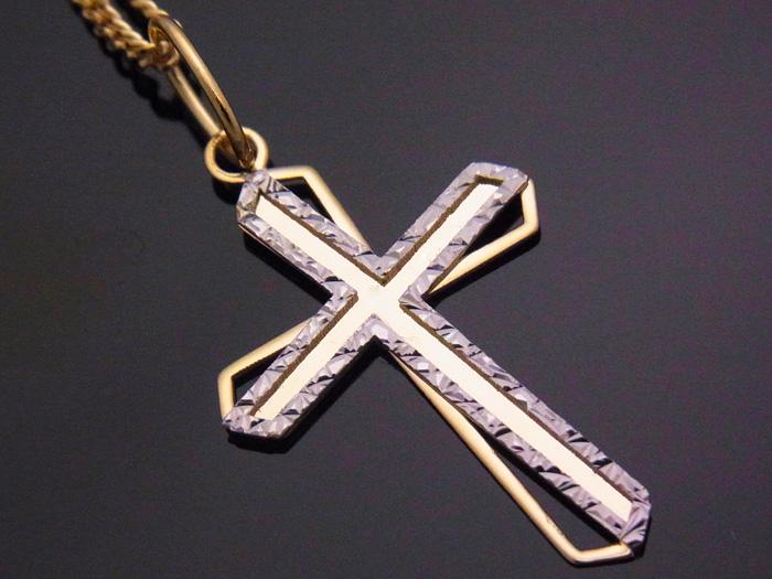 K18 イエローゴールド ホワイトゴールド デザイン クロス ペンダント 18金 18K ネックレス