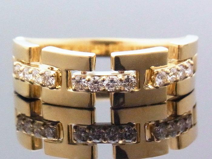 18Kイエローゴールド ハーフリンク リング ダイヤモンド 0.25ct 18金 指輪 k18