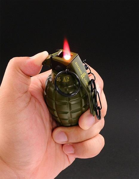 ピストル型電子ライター登場 電子式ガスライター グレネードターボライター 海外 全2色 手榴弾ライター 限定タイムセール