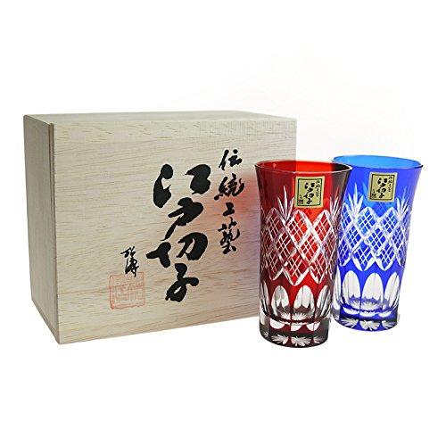 田島硝子 江戸切子 重ね矢来文様・菊底 一口ビール ペア 伝統工芸の一流品 手作り