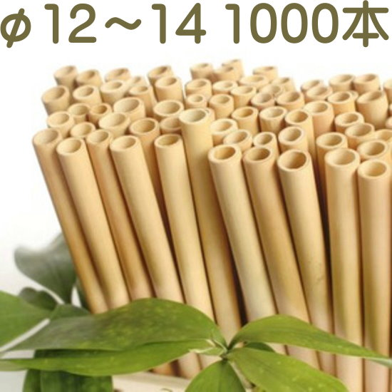 竹ストロー 直径12mm~13mm 1000本 繰り返し使用可能 皮むき 乾燥 殺菌済 天然素材 完全生分解 【海波-MINAMI-】