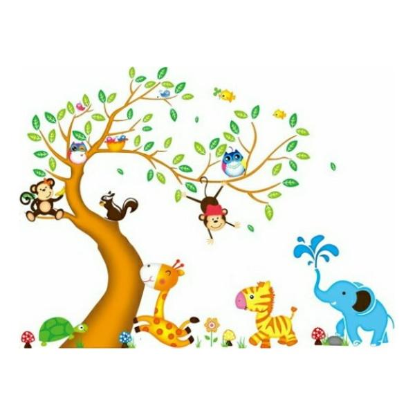 ウォールステッカー 木 子供部屋 動物 花 植物 2枚入り ステッカー 女の子 男の子 ツリー 大きな木 風景 シール 身長計 壁紙 かわいい 英語 子供 キリン 象 ぞう 猿 亀 鳥 キッズルーム 大きい キャラクター 葉 リス diy 森林 キャラクター はがせる 小枝 待合室 学校 森風