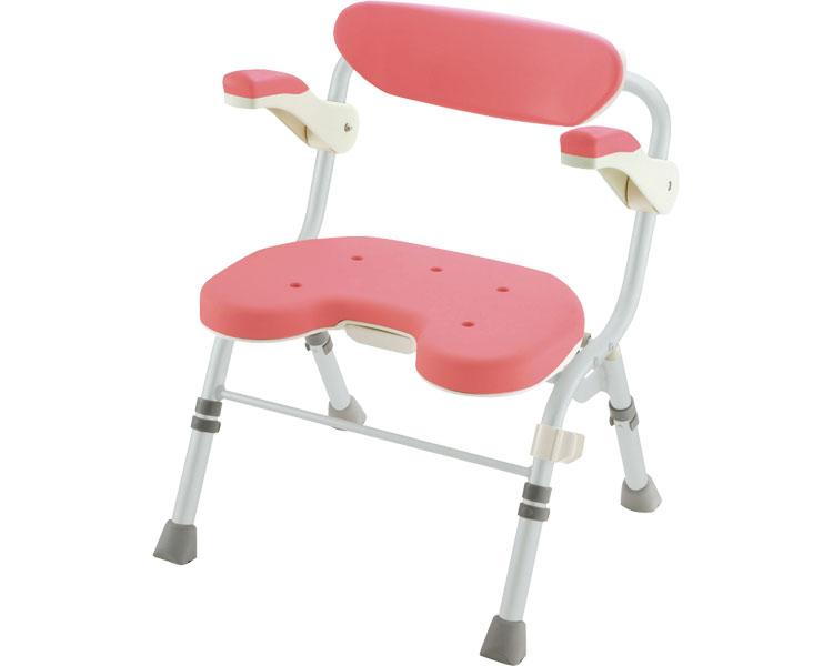 折りたたみシャワーチェア U型 肘掛付 / 48081 ピンク リッチェル 1台 JAN4973655480816