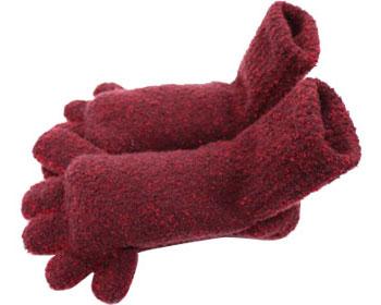 【在庫処分】手袋屋さんのもこもこ5本指ソックス(ショート) / 849-17 杢アカ フクシン 1足 JAN4950147849177