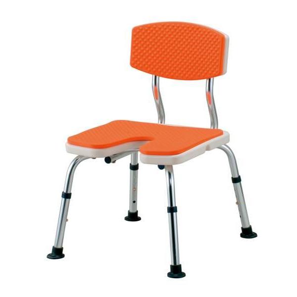 シャワーベンチすま~いるU字型背つきオレンジ JAN4515914301205