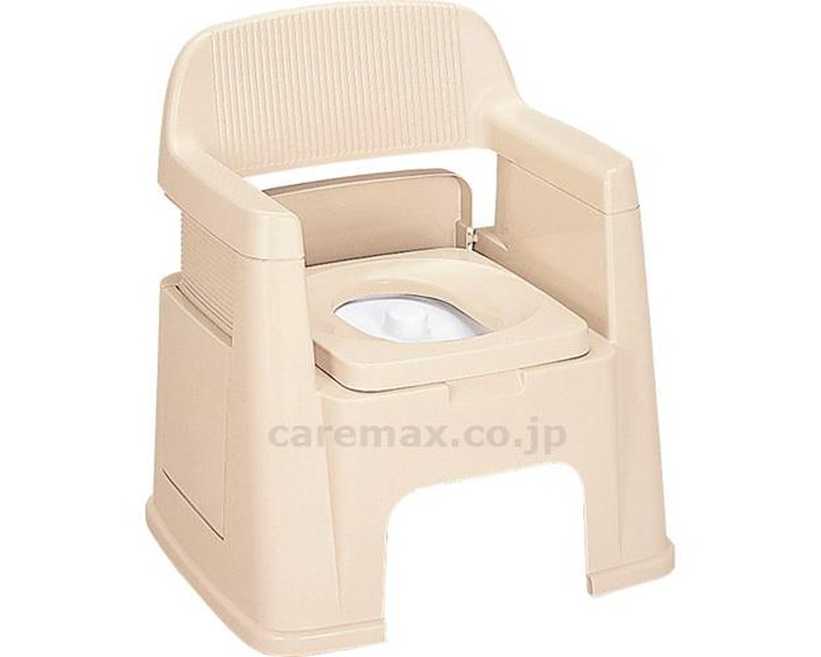 ポータブルトイレ 背もたれ型 / ベージュ 新輝合成 1台 JAN4973221074258