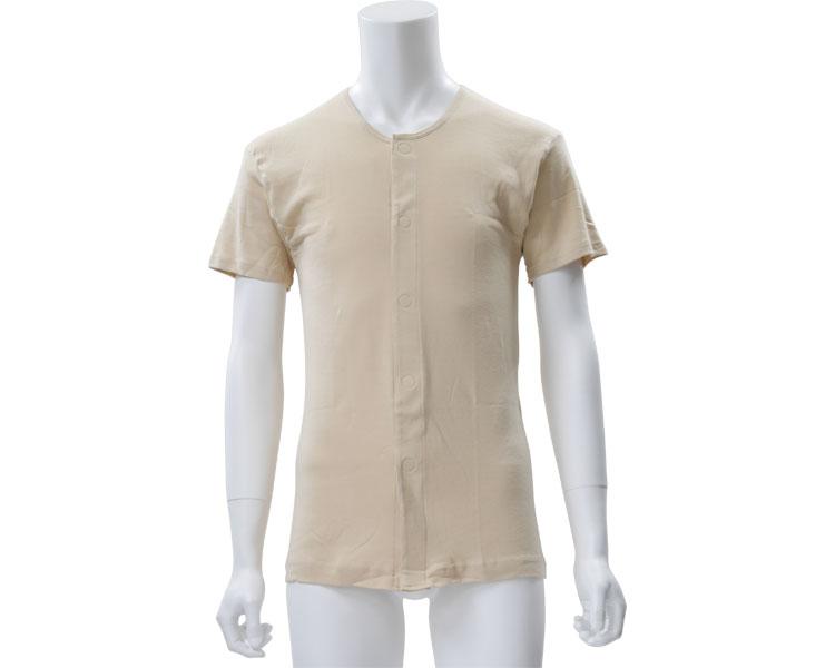 ワンタッチ前開き半袖シャツ 2枚組 紳士用 / Q0200 LL ベージュ 白鷺ニット工業 1組 JAN4549368453883