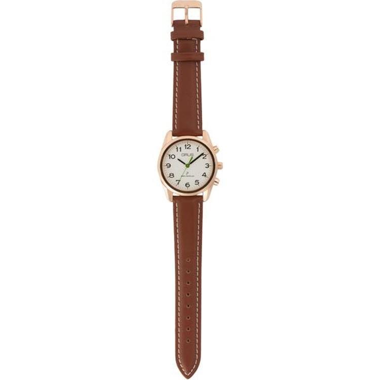 グルス ボイス電波腕時計 ホワイト×ブラウン JAN4582114308020