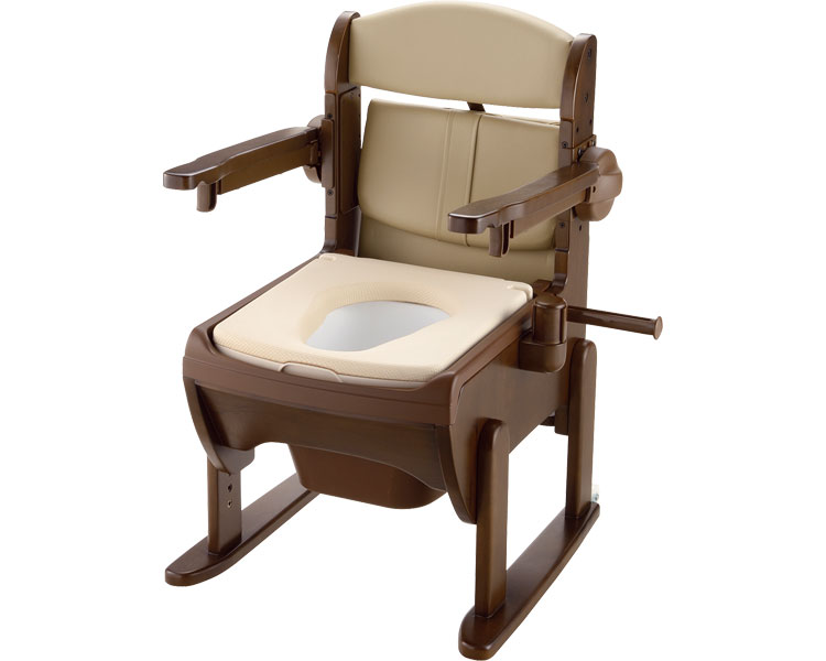 木製きらく 片付け簡単トイレ 肘掛跳ね上げ / 19225 やわらか便座 リッチェル 1台 JAN4973655192252