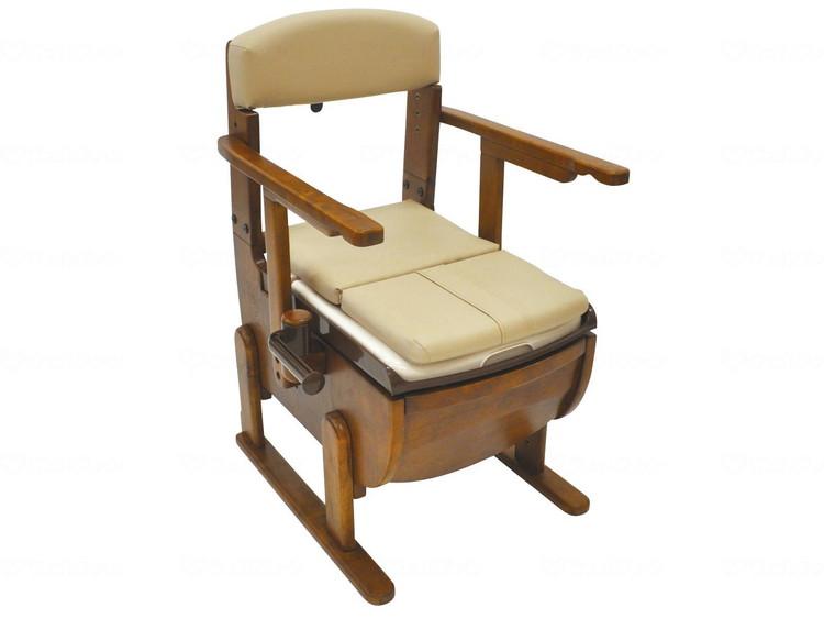 家具調ポータブルトイレ スリムレットEX 肘掛固定 標準便座 JAN4967991500529