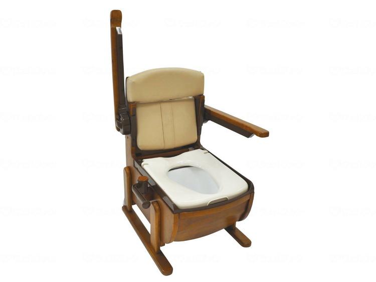 家具調ポータブルトイレ スリムレットEX 肘掛跳ね上げ ソフト便座 JAN4967991500550