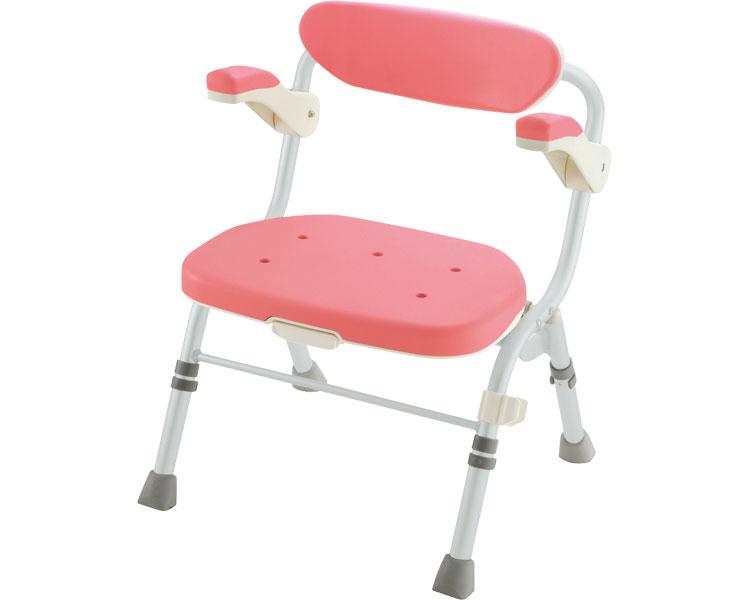 折りたたみシャワーチェア R型 肘掛付 ピンク JAN4973655480618