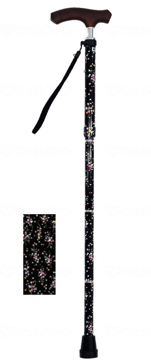ウェルファン夢ライフステッキ スリムネック折畳ベーシックタイプ(柄) カスミブラック ギフトボックス仕様:福祉用具のバリューケア