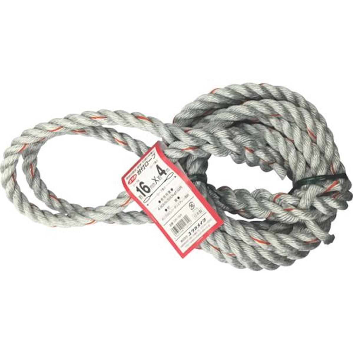 あす楽対応 DIY用品 値下げ ユタカメイク 台付ロープ PE 1本 16mmX4m 国内送料無料 PP混紡ロープ