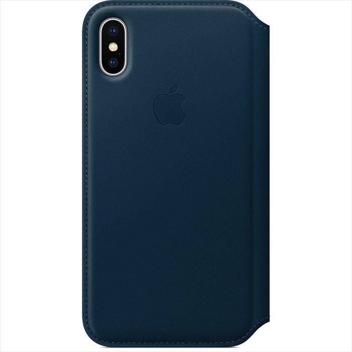 【全品エントリーでP10倍】Apple(アップル) 純正 iPhone X レザーフォリオケース 手帳型 コスモスブルー MQRW2FE/A MQRW2FEA