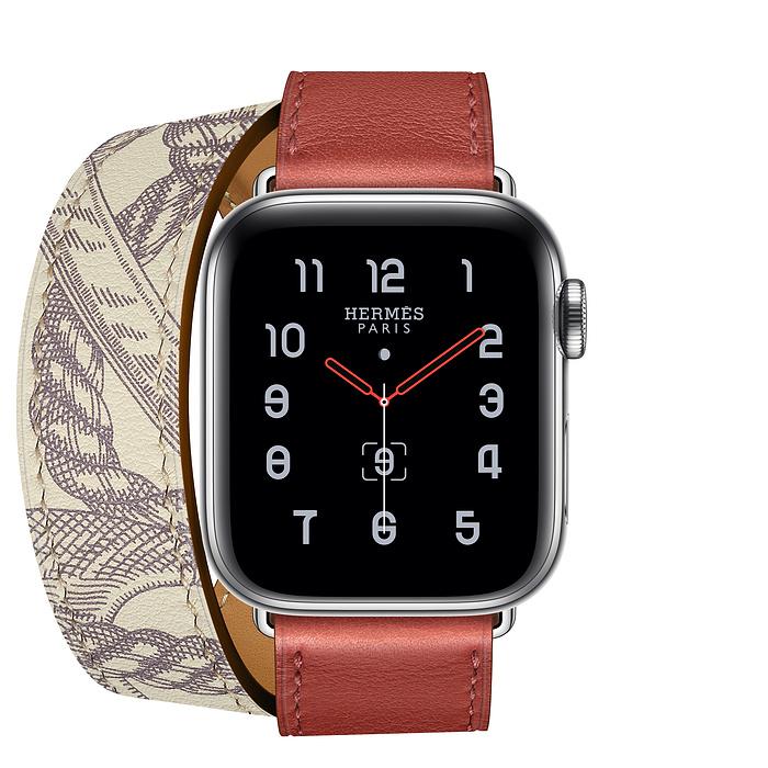 Apple Watch Hermes Series5 ステンレススチールケースとヴォー・スウィフト(ブリック/ベトン)ドゥブルトゥールレザーストラップ アップルウォッチ エルメス [GPS+Cellularモデル/40mm]MWRA2J/A+MX2U2FE/A