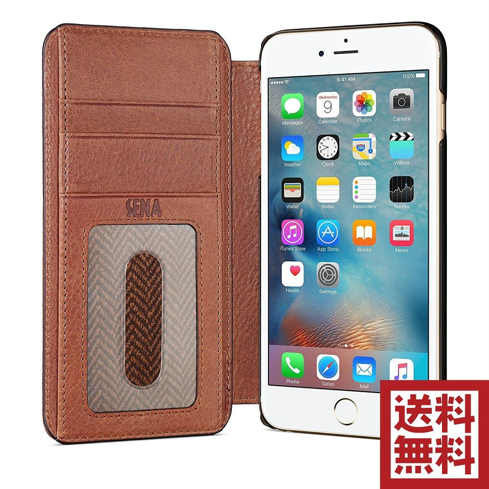 Sena Wallet Book Case for iPhone 6/6s Plus ウォレット カードポケット 最高級フルグレインタンブルドレザー 手帳 保護ケース