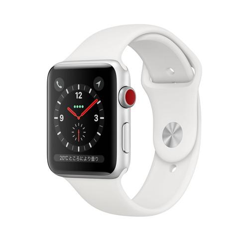 アップルウォッチ 本体 Apple Watch Series 3 42mm シルバーアルミニウムケースとホワイトスポーツバンド アップルウォッチ シリーズ3 (GPS+Cellularモデル)MTH12J/A