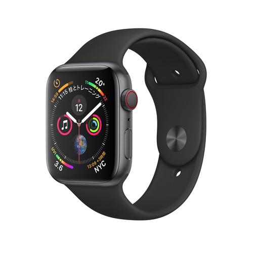 【全品エントリーでP10倍】Apple Watch Series 4(GPS+Cellular)44mm スペースグレイアルミニウムケース とブラックスポーツバンド[アップルウォッチ シリーズ4]MTVU2J/A MTVU2JA