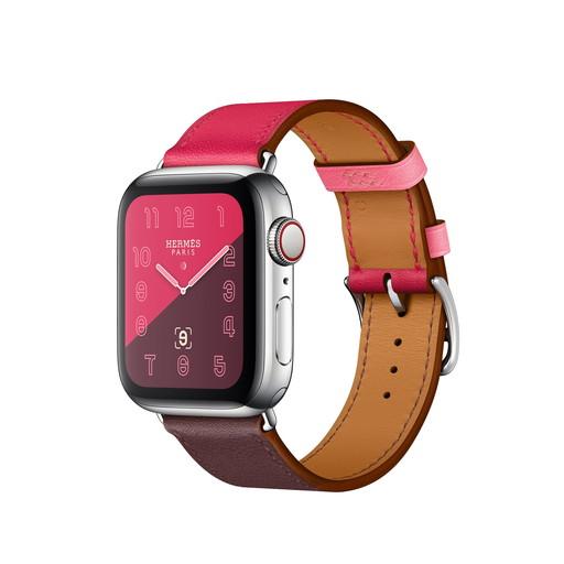 Apple Watch Hermes Series 4(GPS + Cellular)40mm ステンレススチールケースとヴォー・スウィフト(ボルドー/ローズ・エクストレーム/ローズ・アザレ)シンプルトゥールレザーストラップ[アップルウォッチ エルメス] MU702J/A MU702JA