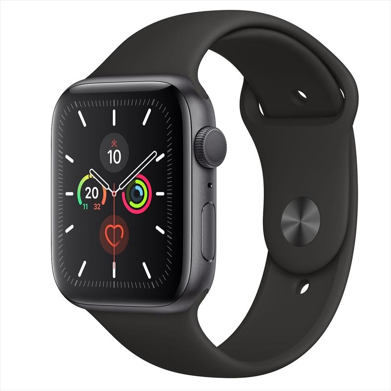 Apple Watch Series 5(GPSモデル)44mmスペースグレイアルミニウムケースとブラックスポーツバンド S/M & M/L MWVF2J/A アップルウォッチ シリーズ5
