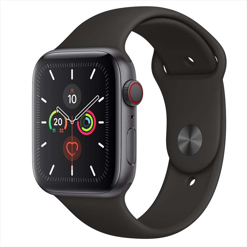 Apple Watch Series 5(GPS + Cellularモデル)44mmスペースグレイアルミニウムケースとブラックスポーツバンド S/M & M/L MWWE2J/A アップルウォッチ シリーズ5