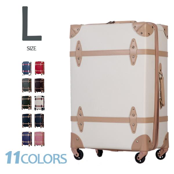 キャリーケース かわいい Lサイズ【800円OFFcoupon配布中】トランクケース スーツケース 一年間保証 TSAロック搭載 軽量 7日~14日用 大型 レトロ キャッシュレス5%還元 suitcase TANOBI FUPP01